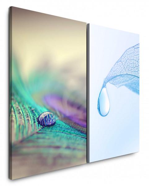 2 Wandbilderje 60x90cm Pfaufeder Tropfen Hellblau Makro Blatt Nahaufnahme Erfrischend