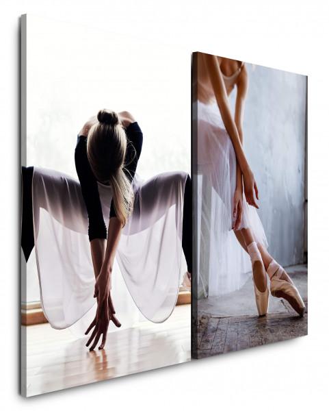 2 Wandbilderje 60x90cm Ballerina Ballett Tanzen Junge Frau Schwan Ballettkleid
