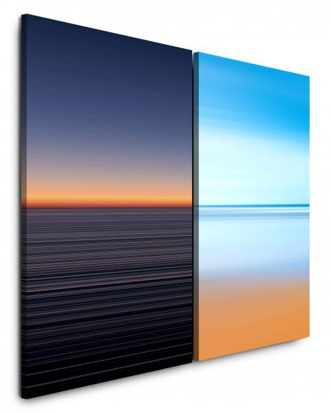 2 Wandbilderje 60x90cm Horizont Abendröte Minimal Orange Himmel Hellblau warmes Licht