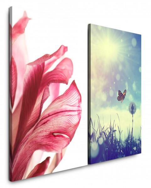 2 Bilder je 60x90cm Blüte Rot Schmetterling Sommer Sonnenschein Wärme Sommerwiese