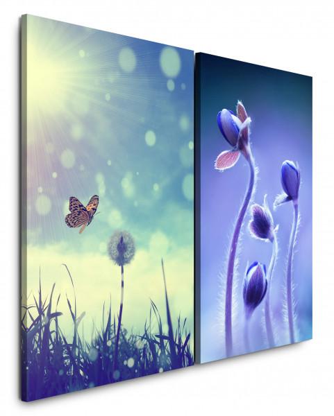 2 Bilder je 60x90cm Sommer Wiese Schmetterling Pusteblume Blumen Sonnenschein Violett
