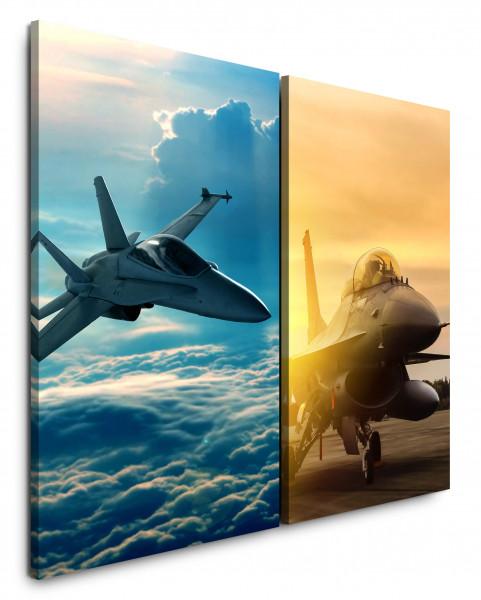 2 Bilder je 60x90cm Eurofighter Düsenjet Militär Kampfpilot Wolken Fliegen Flugzeug