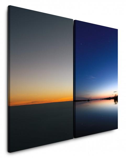 2 Bilder je 60x90cm Horizont Himmel Sonnenuntergang See Nachthimmel Abendröte Wolken