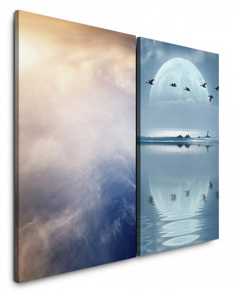 2 Bilder je 60x90cm Über Himmel Wolken Vollmond Enten Meer Mystisch