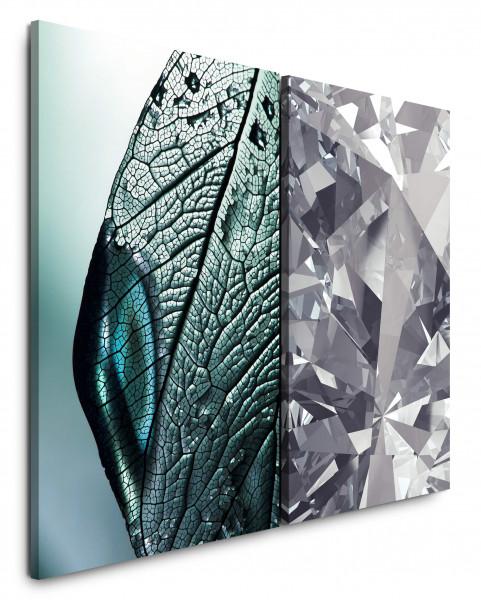 2 Bilder je 60x90cm Grau Diamant Makro Modern Büro Edel Glitzernd