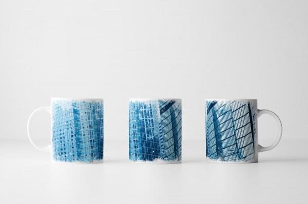 Tasse Blaue Wolkenkratzer