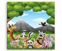 Leinwandbild für Kinder Wilde Tiere im Dschungel als Cartoon