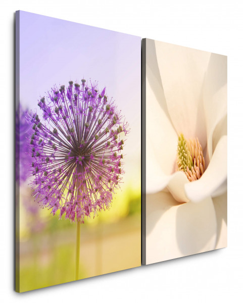 2 Bilder je 60x90cm Purpur Blumen Sommer Weiße Blüten Nahaufnahme Makro