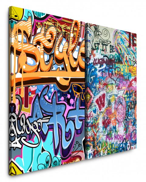 2 Bilder je 60x90cm Streetart Graffiti Tags Grungy Wall Jugend HipHop