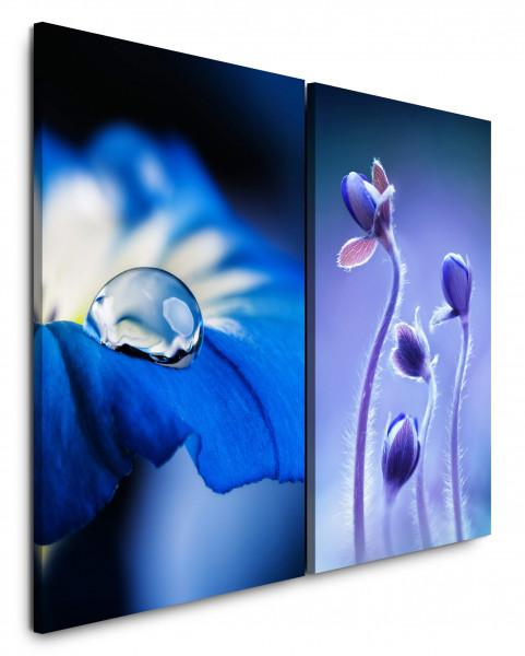 2 Bilder je 60x90cm Blau Blumen Tropfen Nahaufnahme Blüte Makro Fotokunst