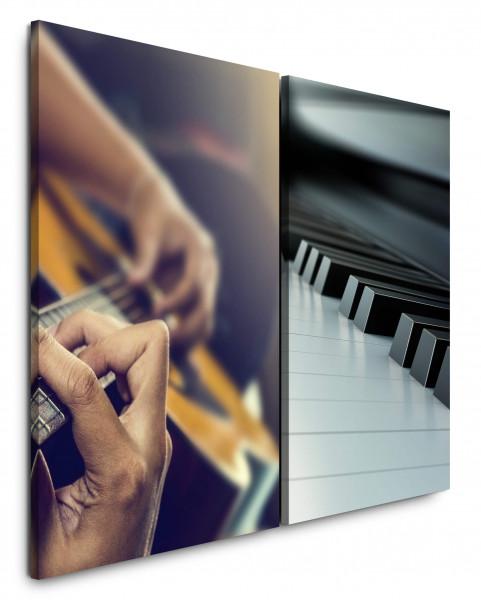 2 Bilder je 60x90cm Musik Gitarre Klavier Klaviertasten Relax Schwarz Weiß
