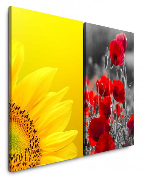 2 Bilder je 60x90cm Sonnenblume Gelb Mohnblume Blumen Blüten Sommer Makrofotografie
