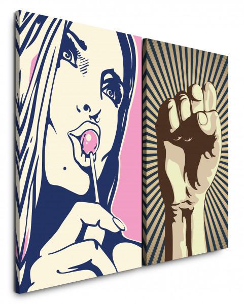 2 Bilder je 60x90cm Revolution Faust Pop Art Modern Girl Pink