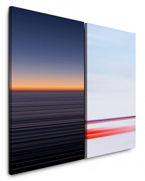 2 Bilder je 60x90cm Horizont Rosa Pastelltöne Abenddämmerung Minimal Abendröte Bauhaus