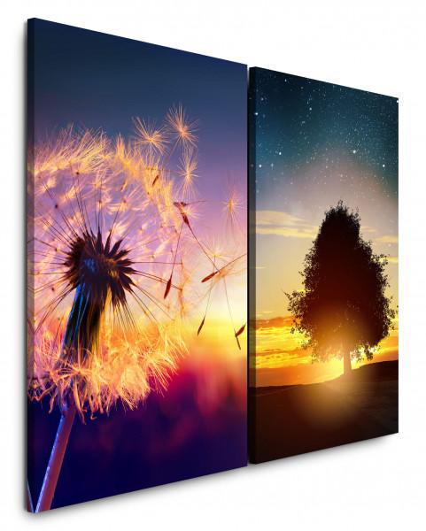 2 Bilder je 60x90cm Pusteblume Baum Sternenhimmel Eiche Abendröte Sonnenuntergang Sommernacht
