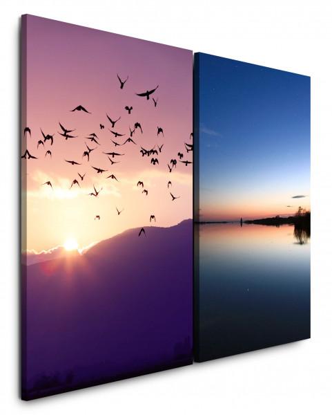 2 Bilder je 60x90cm Berge Vögel Fliegen Horizont Meer Sonnenuntergang Vogelschwarm