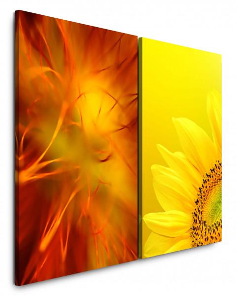 2 Bilder je 60x90cm Sonnenblume Gelb Orange Makro Warm Hell Sommer