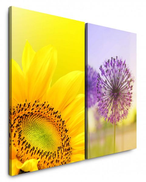 2 Bilder je 60x90cm Sonnenblume Pusteblume Gelb Sommer Nahaufnahme Blumen Lila