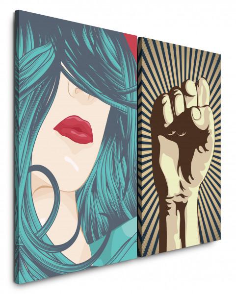 2 Bilder je 60x90cm Girl Power Lippen Rot Revolution Feminin PopArt