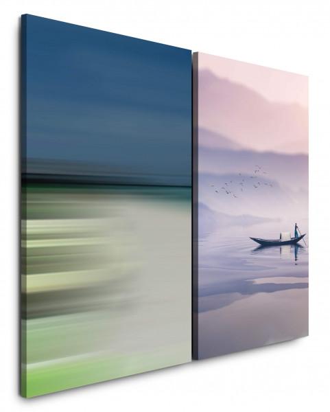 2 Bilder je 60x90cm Boot Thailand Maya Bay Morgenstimmung Kraft Ruhe