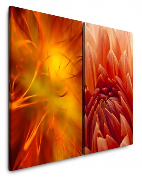 2 Bilder je 60x90cm Dahlie Orange Rot Blumenblüten Nahaufnahme Makro Fotokunst