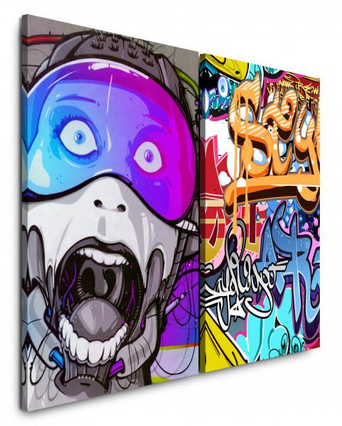 2 Bilder je 60x90cm Cyborg StreetArt Bunt Graffiti Jugendzimmer Wand Cool