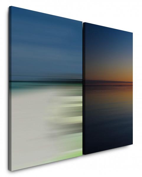 2 Bilder je 60x90cm Horizont Minimal Himmel Blau Sonnenuntergang Abendröte See