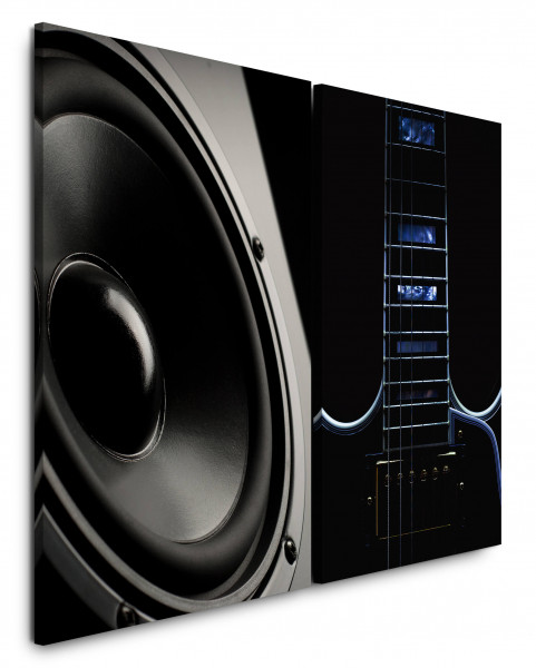 2 Bilder je 60x90cm Lautsprecher E-Gitarre Boxen Musik Schwarz Weiß Audiophile