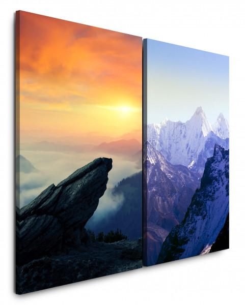 2 Bilder je 60x90cm Berge Berggipfel Himalaja Sonnenuntergang Gletscher Felsen Himmel