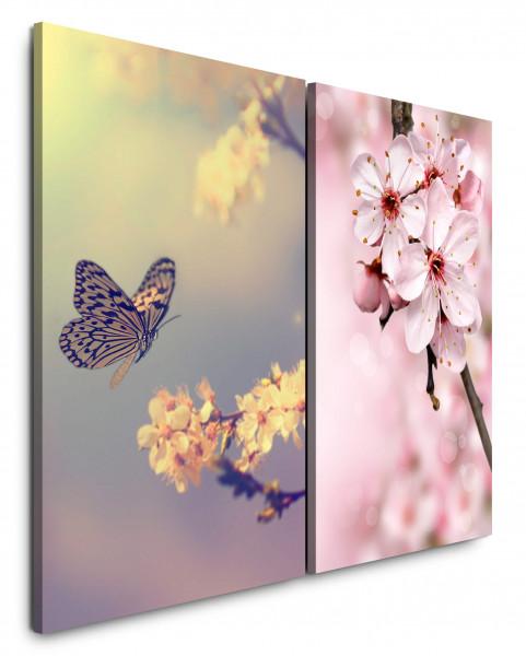 2 Bilder je 60x90cm Frühling Kirschblüten Schmetterling Kirschzweig Rosa Kirschen Japan