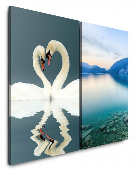2 Wandbilderje 60x90cm Liebe Weißer Schwan Herz See Berge Romantisch