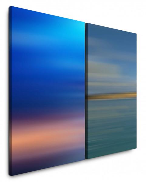 2 Bilder je 60x90cm Pastelltöne Himmel Abenddämmerung Harmonisch Abstrakt Modern Minimal