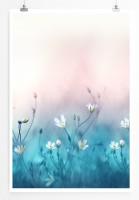 Poster Wiese mit weißen Blumen
