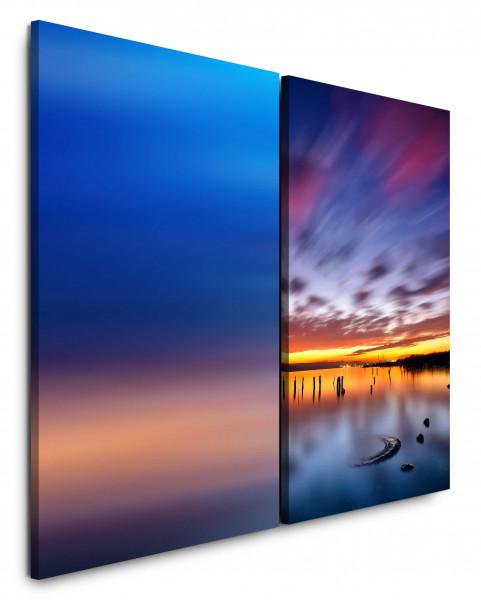 2 Bilder je 60x90cm See Meer Abenddämmerung Abendröte Wolken Himmel Blau