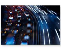 Leinwandbild Autobahn bei Nacht