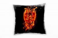 skull in flames Deko Kissen
