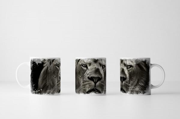 Tasse Löwenporträt schwarz weiß