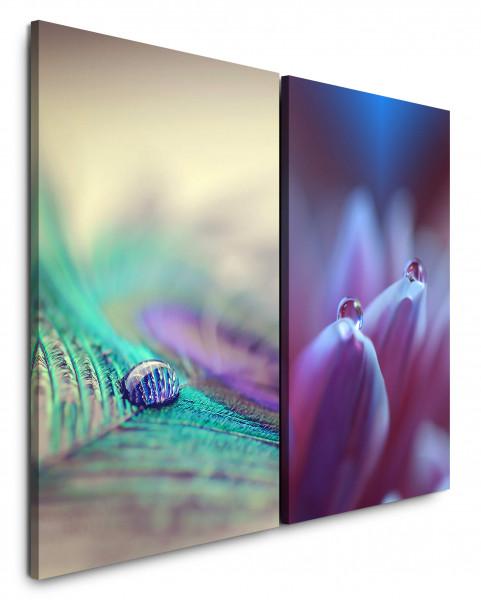 2 Bilder je 60x90cm Pfaufeder Wassertropfen Tropfen Violett Blume Makro Nahaufnahme