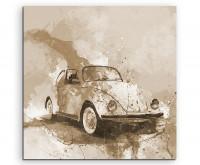 Leinwandbild Auto VW Käfer Splash Art
