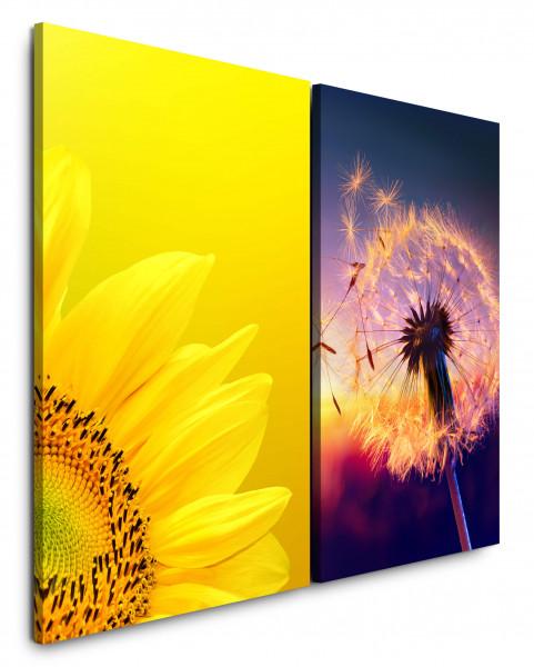 2 Bilder je 60x90cm Sonnenblume Gelb Sommer Abenddämmerung Pusteblume Löwenzahn Makro