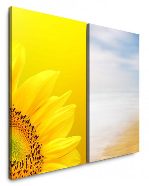2 Bilder je 60x90cm Sonnenblume Gelb Sommer Strand Meer Sonne Sommer