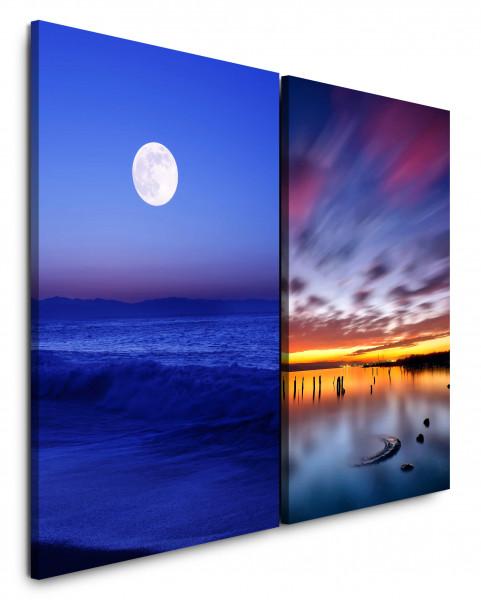 2 Bilder je 60x90cm Vollmond Nachthimmel Meer Flut Horizont Blau Sonnenuntergang
