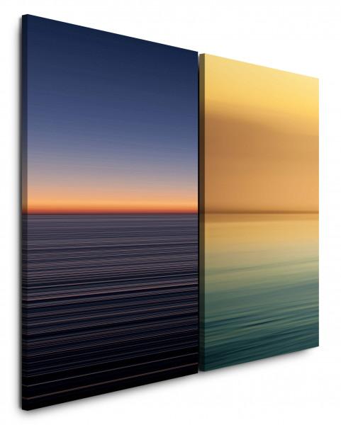 2 Bilder je 60x90cm Horizont Minimal Gold Meer Himmel Abendröte Abstrakt