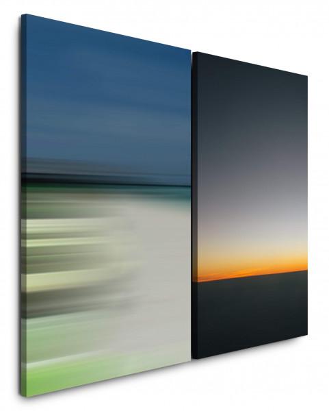 2 Bilder je 60x90cm Horizont Abendröte Abenddämmerung Sonnenuntergang Harmonisch Abstrakt Minimal
