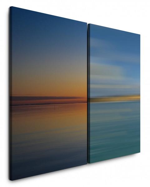 2 Wandbilderje 60x90cm See Abendröte Harmonie Horizont Blau Himmel Sonnenuntergang