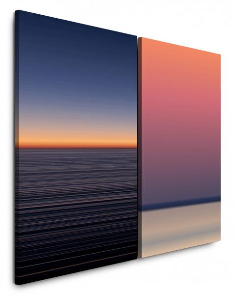2 Bilder je 60x90cm Dunkles Meer Horizont Abenddämmerung Sanft Entspannend Minimal