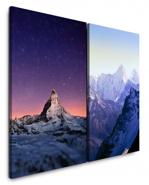 2 Bilder je 60x90cm Berggipfel Nachthimmel Sternenhimmel Berge Himalaya Schneegipfel Bergkette