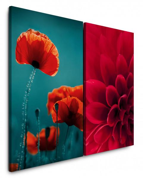 2 Bilder je 60x90cm Dahlie Mohnblume Rot Makro Nahaufnahme Blumen Blüte
