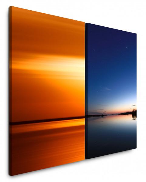 2 Bilder je 60x90cm Meer See Abenddämmerung Sonnenuntergang Rot Abendröte Nachthimmel