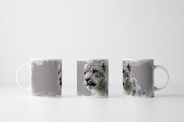 Tasse Junger männlicher Schneeleopard